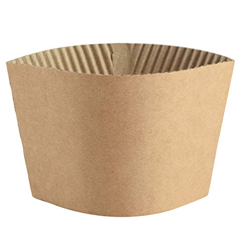 Coffee Sleeves - 500 count SPRINGPACK Disposable Corrugated Hot Cup Sleeves Jackets Holder - Kraft Paper Sleeves Protective Heat Insulation Drinks Insulated Fits 12,16,20,22,24 oz Coffee Cups -