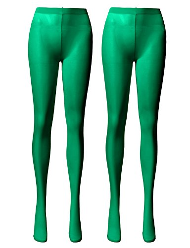 (OSABASA Women's 80 Denier Semi Opaque Solid Color Footed Pantyhose Tights-St. Patrick's Day GREEN (KWMT05))