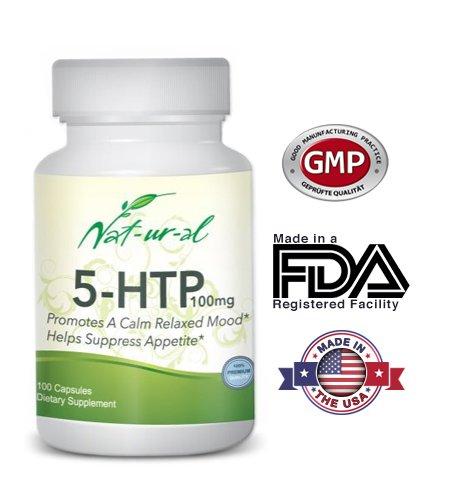 5-HTP Premium à partir de NAT-UR-al Marques, entièrement naturel, la sérotonine Booster, 100 mg, 100 capsules, favorise une ambiance calme, 100% satisfaction garantie, améliore le sommeil réparateur, aide à supprimer l'appétit, perte de poids, gélule végé