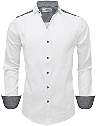Mens Trim Shoulder Long Sleeve Dress Shirts