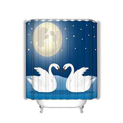 Xunulyn Shower Curtain Set with 12 Hooks Floral Bath Curtain Thick Fabric Bathroom Curtains Home Decorations for Bathroom 60x72 INCH Pair Swans swan Swans Background Moon Wedding invi -