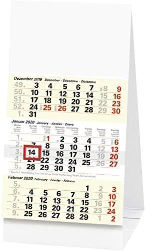 BRUNNEN 1070211 Drei-Monats-Tischkalender (97 x 190 mm, 1 Blatt = 3 Monate, Karton-Aufsteller, Kalendarium 2020)