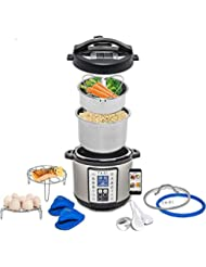Total Package 9-in-1 Instant Programmable Pressure Cooker, with Endless Recipes and Deluxe Accessory Kit by Yedi Houseware (6 Qt)
