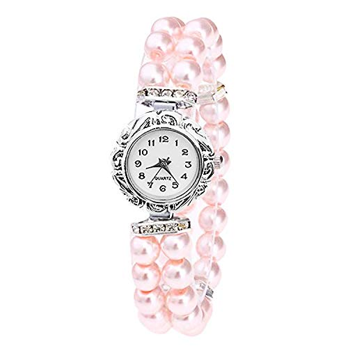 Mehrunnisa Fashion Pearls Crystal Analog Bracelet Watch for Girls