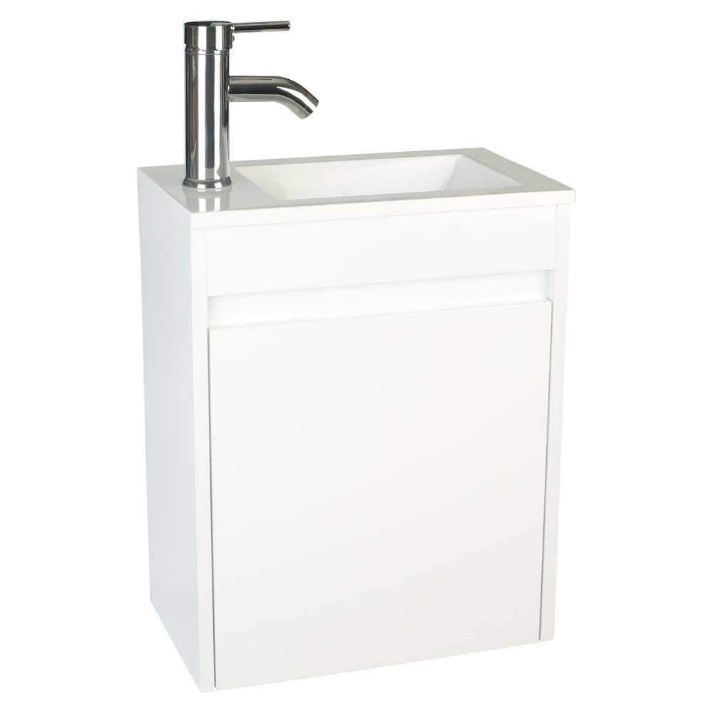"""eclife Bathroom Vanity W/Sink Combo, 16"""" for Small Space MDF Paint Modern Design White Wall Mounted Cabinet Set, White Resin Basin Sink Top, Chrome Faucet W/Flexible U Shape Drain B10W"""