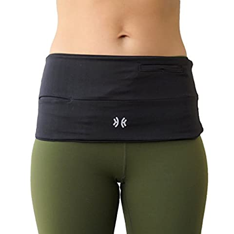 Limber Stretch Hip Hug PRO Running Fuel Belt - Fits iPhone 6/7 Plus & All Smart Phones - Hydration Waist Pack Made for Runners - available in PLUS SIZES for men and women, PRO Midnight Black, Small