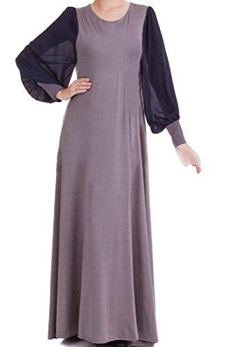 Slim Dress Sleeve Grey Comfy Turkey Lantern Women Longline Abaya Muslim qwFn7OtU