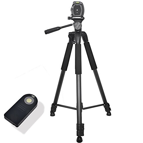 72 Inch Lightweight Aluminum Camera Tripod Bundle (5 Piece Set) – Includes Remote Shutter Release for Nikon, Carrying Case and Microfiber Lens Cleaning Cloth