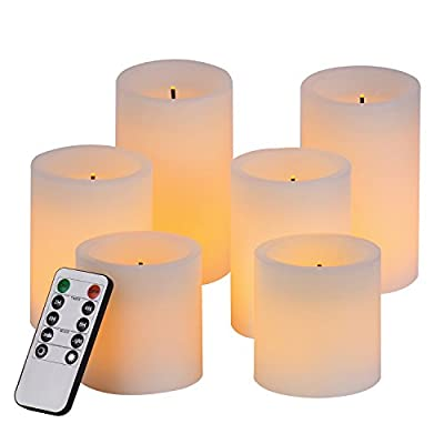 Pandaing Flameless Flickering LED Candles with 10-Key Remote Control Timer Classic Pillar Optical Fiber Wick Real Wax Candles, Battery Powered, Ivory Color