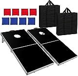 Nova Microdermabrasion Folding 4ft X 2ft Cornhole Bean Bag Toss Game Set Aluminum W/Carrying Case for Tailgate Party Backyard BBQ