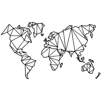Amazon Com Homefind Black 29w X 16h Geometric Designs World Map