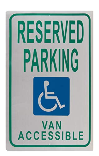 (Handicap Parking Sign - Reserved Parking Van Accessible Notice, Rust Free Aluminum, Green on White, 18 x 12 Inches)
