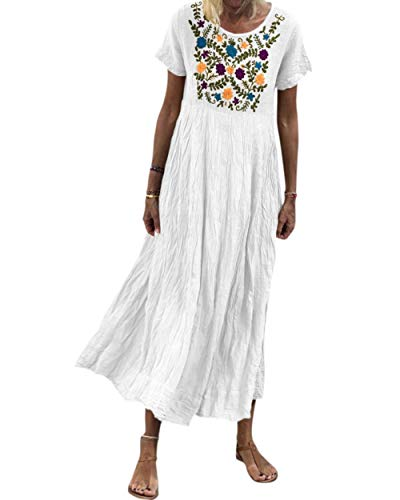 - MOSHENGQI Women Embroidered Floral Maxi Dress Short Sleeve Long Vintage Dresses(S,White)
