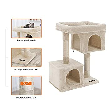 FEANDREA Cat Tree with Sisal-Covered Scratching Posts and 2 Plush Condos Cat Furniture for Kittens