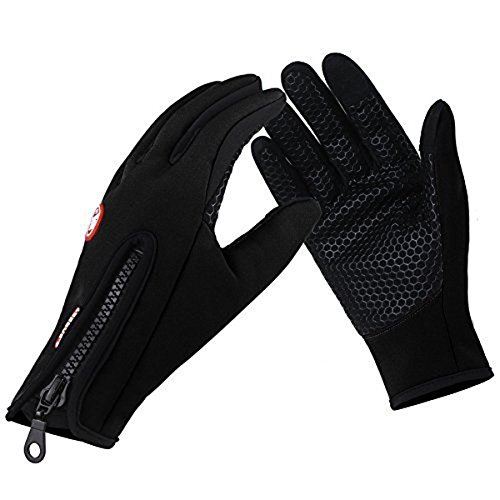 GEREE Biking Gloves, Waterproof Touchscreen in Winter Outdoor Windproof Black Cycling Gloves Adjustable Size