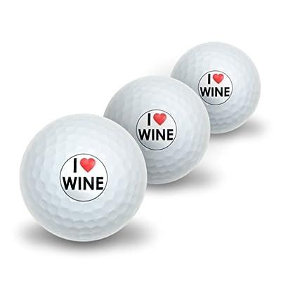 I Love Heart Wine Novelty Golf Balls 3 Pack