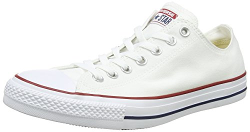 Converse Chuck Taylor All Star Low Top Sneaker, Optical White, 9.5 M (Navy Chuck Taylors)