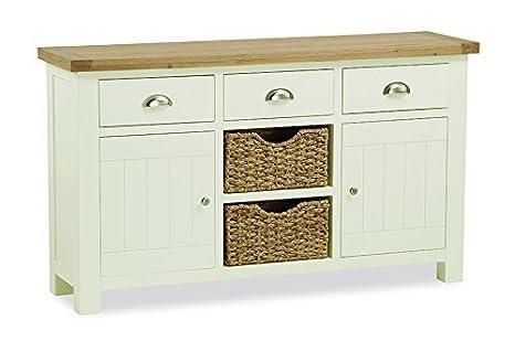 Credenza Con Cesti : Roseland furniture daymer dipinta grande credenza crema
