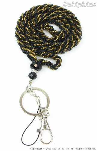 Crystal Mini seed Beaded Necklace LANYARD Keychain with Clasp for Key / ID / Cell Phone Holder(13 Colors for choice) (Black/Gold)