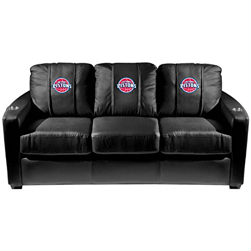 XZipit NBA Silver Sofa with Detroit Pistons Logo Panel, Black