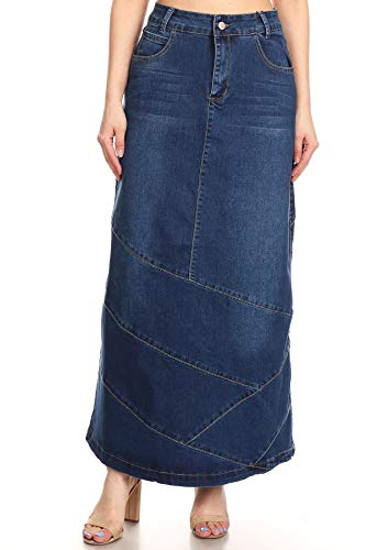 Women's Juniors High Rise Pencil Long Jeans Maxi Denim Skirt in M. Blue Size L ()