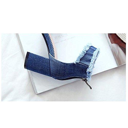 Del Salvaje Verano Estudiante Blue Versión Mujer Literatura Sandalias Temperamento Tacones Y Altos Mezclilla Zapatos Arte Coreana De EwH0xYZq