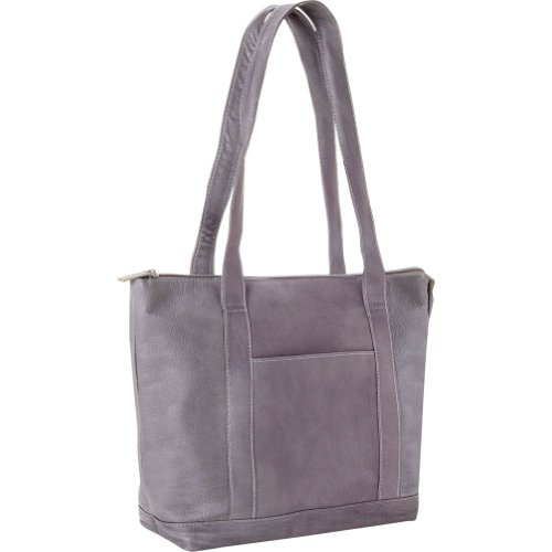 Le Donne Leather Double Strap Pocket Tote (Gray), Bags Central