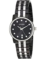 Citizen Womens  Quartz Stainless Steel Casual Watch, Color:Black (Model: EU6037-57E)
