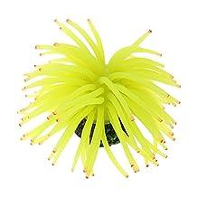 Uxcell Silicone Aquarium Sea Anemone Plant/Grass Decor, Yellow/Green