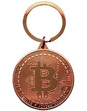 Bitcoin Sleutelhanger met munten, 4 cm, geschenk, portemonnee, crypto en etherium, dogecoin, licoin, grapartikelen, koperkleurig
