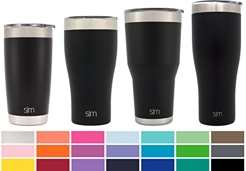 Simple Modern Tumbler Vacuum Insulated 20oz Cruiser with Lid - Double Walled Stainless Steel Travel Mug - Sweat Free Coffee Cup - Compare to Yeti and Contigo - Powder Coated Flask - Midnight Black