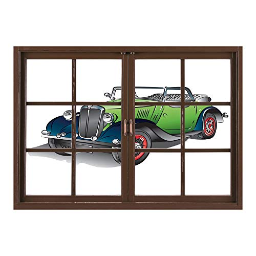 Rim Meadow - SCOCICI Removable Wall Sticker/Wall Mural/Cars,Hand Drawn Convertible Vintage Green Car with Colorful Rims Retro Vehicle Design Print Decorative,Green Gray/Wall Sticker Mural