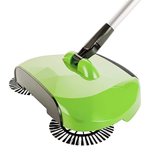 EmiQueen(TM) Hand Push Sweeper Automatic Stainless Steel Sweeping Machine Handle Broom Household Floor Cleaning Package 360 Degree Rotation Sweep Dustpan[ green ] - Sweeper Shop Floor Machines