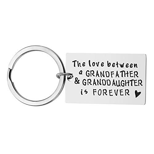 Grandpa Gift for Fathers Day - The Love Between a Grandfather and Granddaughter is Forever Keychain, Grandfather Granddaughter Gifts, Christmas Gift Birthday Gift for Grandpa from Granddaughter