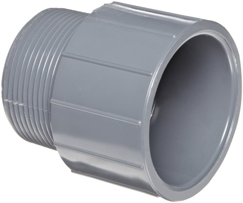 GF Piping Systems PVC Pipe Fitting, Adapter, Schedule 80, Gray, 3 NPT Male x Socket