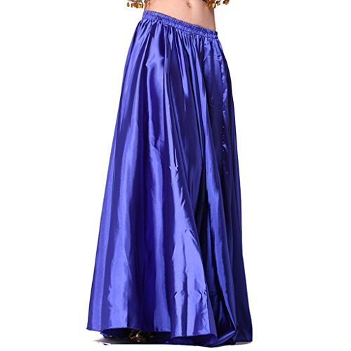 MUNAFIE Belly Dance Satin Skirt Arabic Halloween Shiny Skirt Fancy Full Skirt US0-14 Navy]()