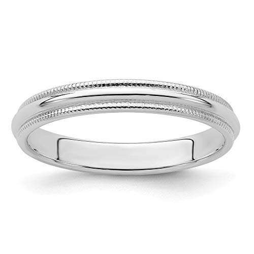 925 Sterling Silver 3mm Half Round Milgrain Size 9.5 Wedding Ring Band Classic Fine Jewelry Gifts For Women For Her