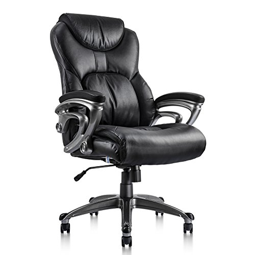NKV High Back Executive Office Chair Ergonomic Home Office Chair Managerial Bonded Leather Chair Thick Cushion Support (Executive Fabric Faux Leather)