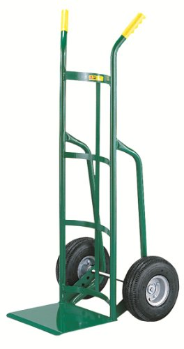 Little-Giant-T-220-14-Gauge-Tubular-Steel-12-Deep-Reinforced-Nose-Plate-Hand-Truck-with-Dual-Handle-Solid-Rubber-Tire-Wheels-Green-800-lbs-Load-Capacity-49-Height-x-19-Width-x-22-Depth