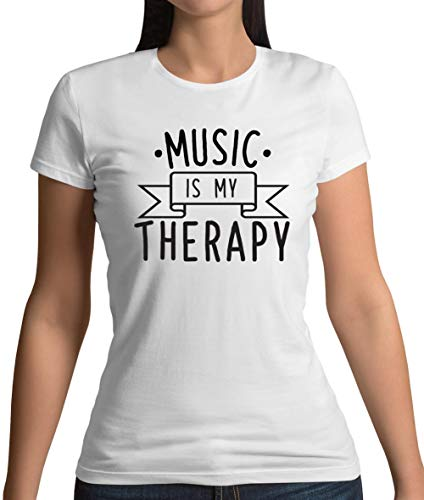 Dressdown Music is My Therapy - Womens T-Shirt - White - L