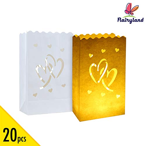 Halloween Party Event Proposal (20pcs White Luminary Candle Bags Special Lantern Luminary Bag with Duo Heart Durable and Reusable Fire-Retardant Cotton Material for Wedding Valentine Reception Engagement Marriage Proposal)