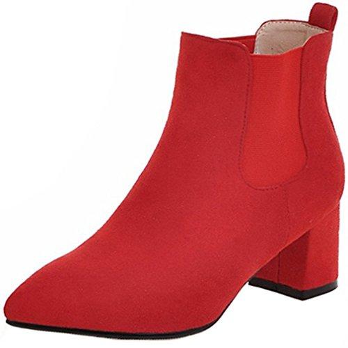 ENMAYER Mujer Pleuche Material cuña Chunky tacón puntiagudo Slip on Ankel Boots Rojo4
