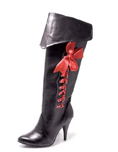 [Black Pirate Boots Costume Shoes - Size 9] (Pirate Costumes Footwear)