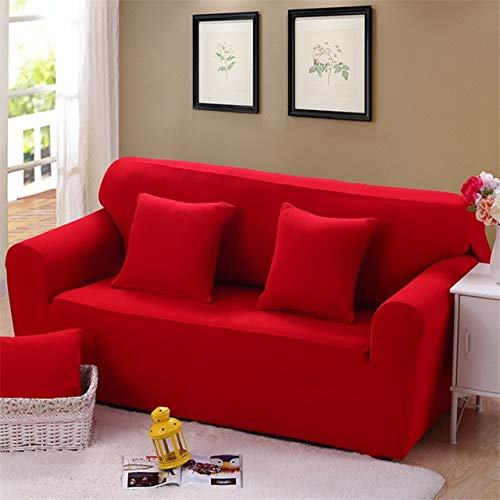 Zoomy far New Drop Shipping Solid color Soft All-Inclusive Fabric Cover Sofa Slipcover Elastic Sofa Cover Couch Cover for 1 2 3 4 Seats   SC01210, Double Seater