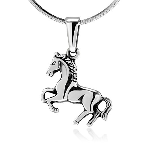 925 Oxidized Sterling Silver Jumping Horse Equestrian Cowgirl Pendant Necklace, 18 inches
