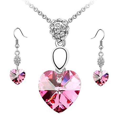 Hemlock Women Lady Elegant Rhinestone Crystal Necklace Earrings Set (Hot pink)