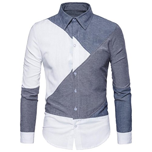 Mens Long Sleeve Slim Fit Casual Snap Buttons Plaid Dress Shirts, Oxford Formal Casual Dress Shirts Blouse Top (Gary, XL)