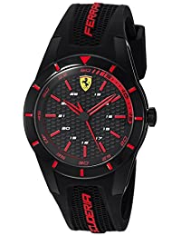 Ferrari Men's 'RedRev' Quartz Stainless Steel and Rubber Casual Watch, Color:Black (Model: 840004)