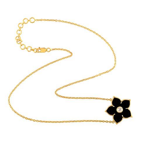 - Mettlle 925 Sterling Silver Black Onyx & White Topaz Pendant Necklace for Women 3.76 Cttw