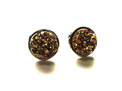 6caac0d5b Image Unavailable. Image not available for. Color: Gold Sparkly Druzy Stud  Earrings ...